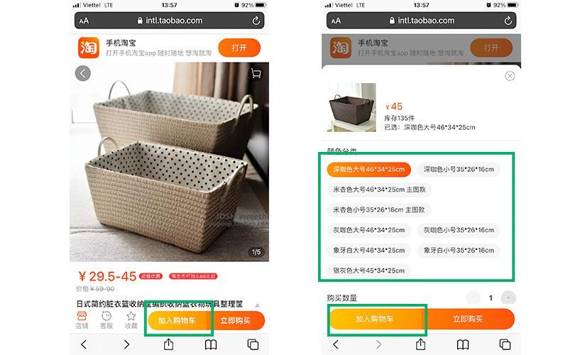 Tìm kiếm và cho sản phẩm cần mua vào giỏ hàng